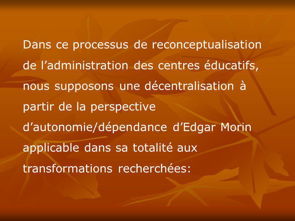 Dans ce processus de reconceptualisation de l'administration des centres éducatifs, nous supposons une décentralisation à partir de la perspective d'autonomie/dépendance d'Edgar Morin applicable dans sa totalité aux transformations recherchées: