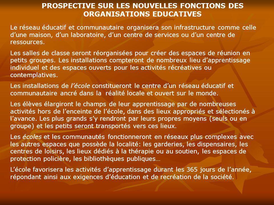 PROSPECTIVE SUR LES NOUVELLES FONCTIONS DES ORGANISATIONS EDUCATIVES