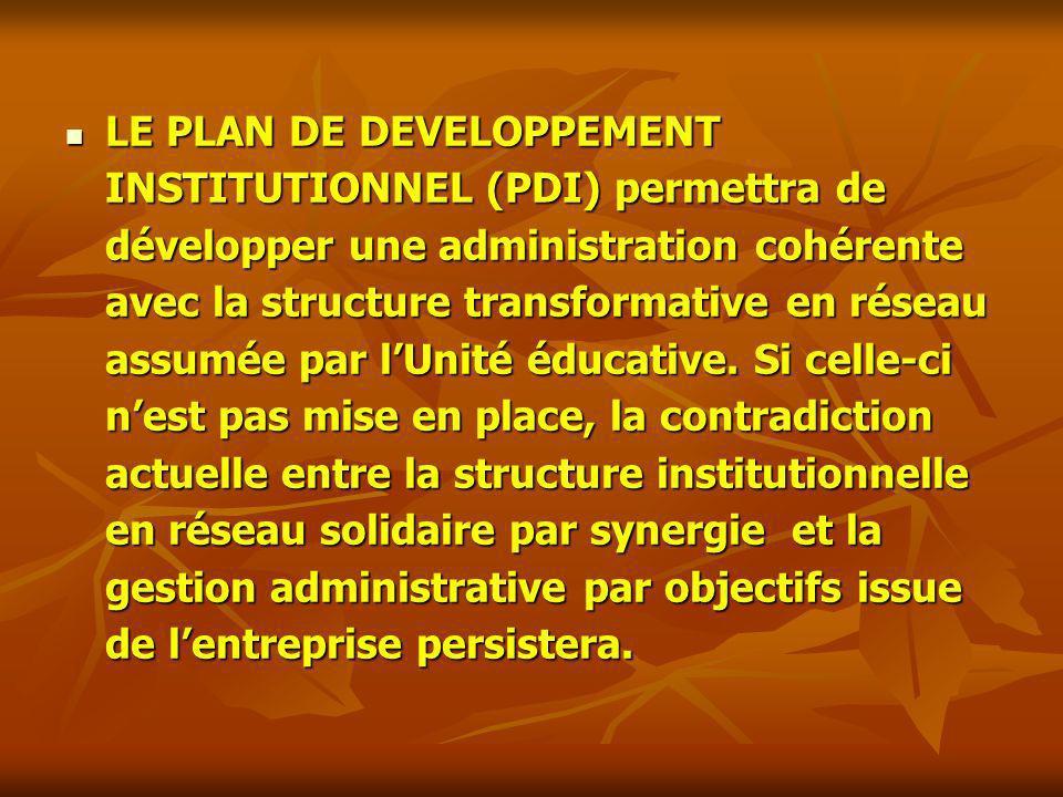 LE PLAN DE DEVELOPPEMENT INSTITUTIONNEL (PDI) permettra de développer une administration cohérente avec la structure transformative en réseau assumée par l'Unité éducative.