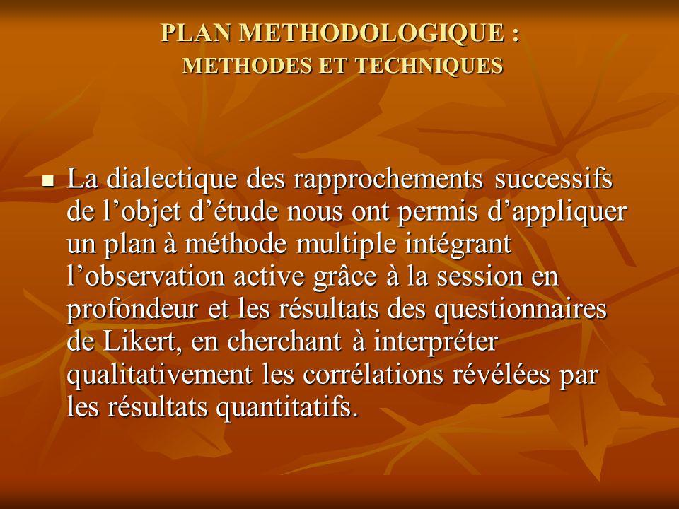 PLAN METHODOLOGIQUE : METHODES ET TECHNIQUES