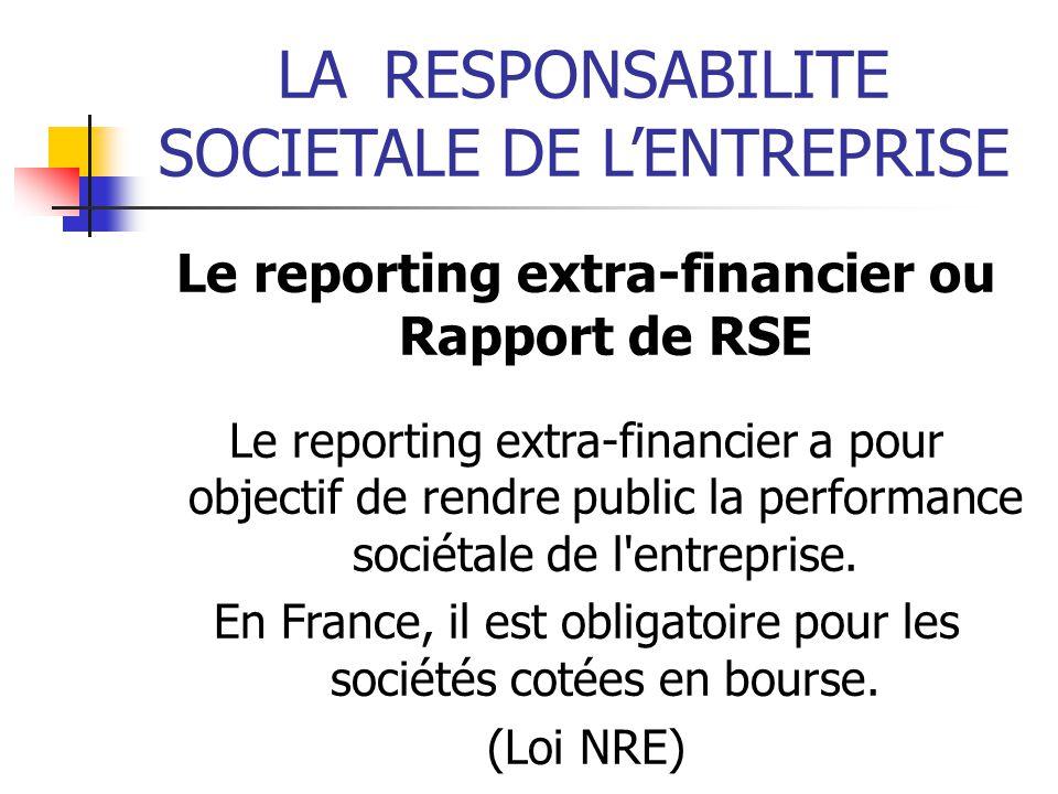 Le reporting extra-financier ou Rapport de RSE