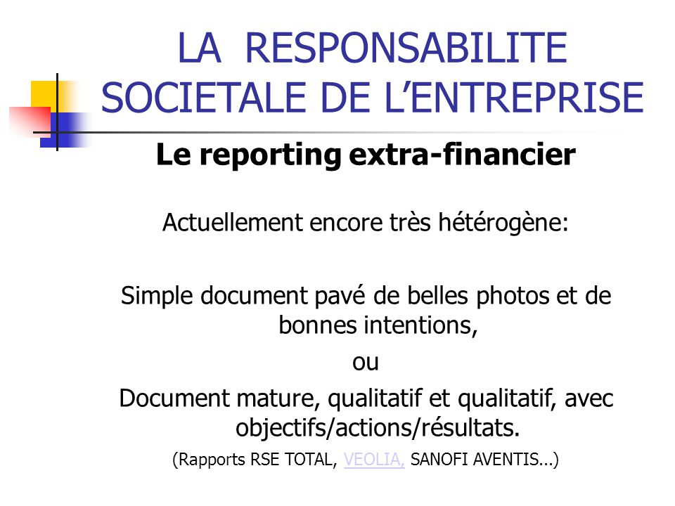 Le reporting extra-financier