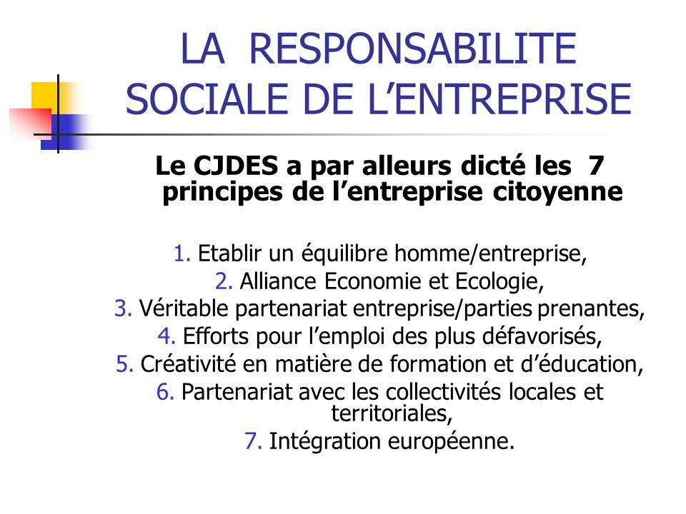 Le CJDES a par alleurs dicté les 7 principes de l'entreprise citoyenne