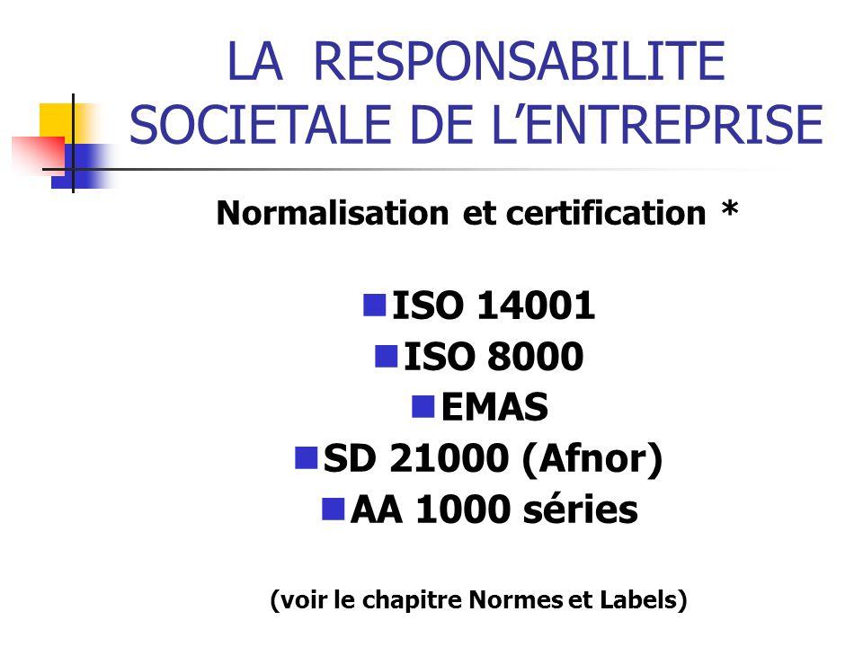 Normalisation et certification * (voir le chapitre Normes et Labels)