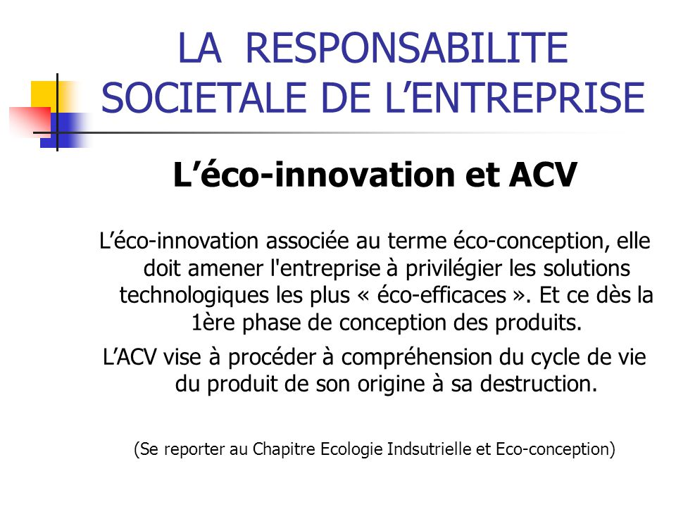 L'éco-innovation et ACV