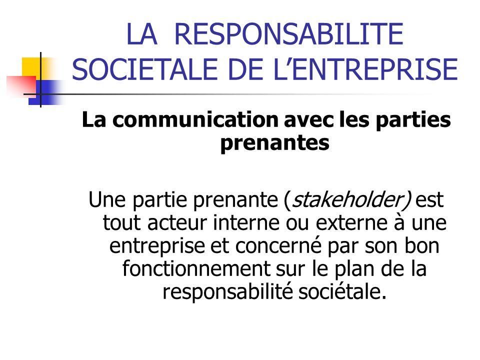 La communication avec les parties prenantes