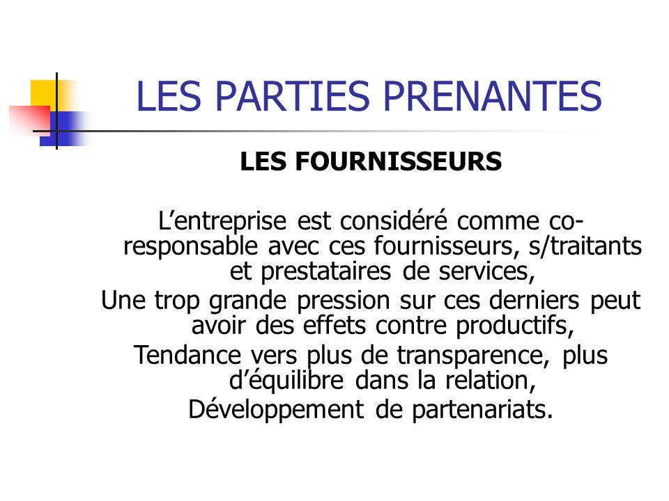 LES PARTIES PRENANTES LES FOURNISSEURS