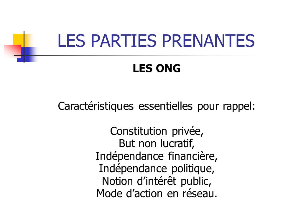 LES PARTIES PRENANTES LES ONG