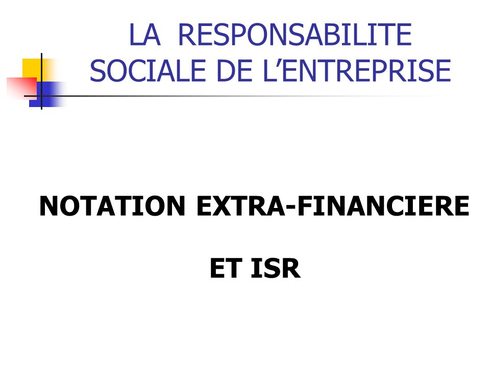 NOTATION EXTRA-FINANCIERE