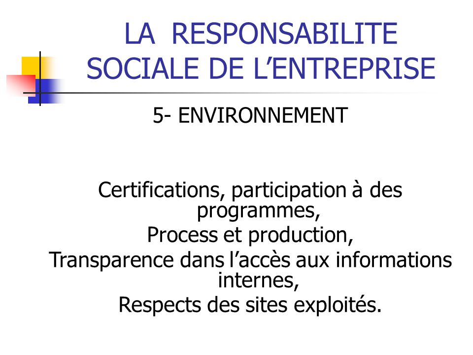 LA RESPONSABILITE SOCIALE DE L'ENTREPRISE