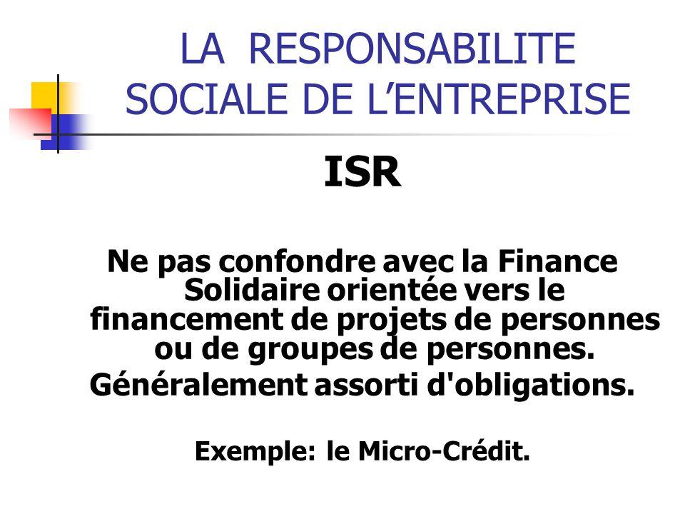 Généralement assorti d obligations. Exemple: le Micro-Crédit.