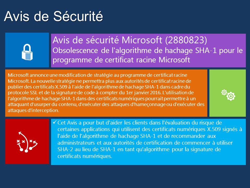 Avis de Sécurité Avis de sécurité Microsoft (2880823)