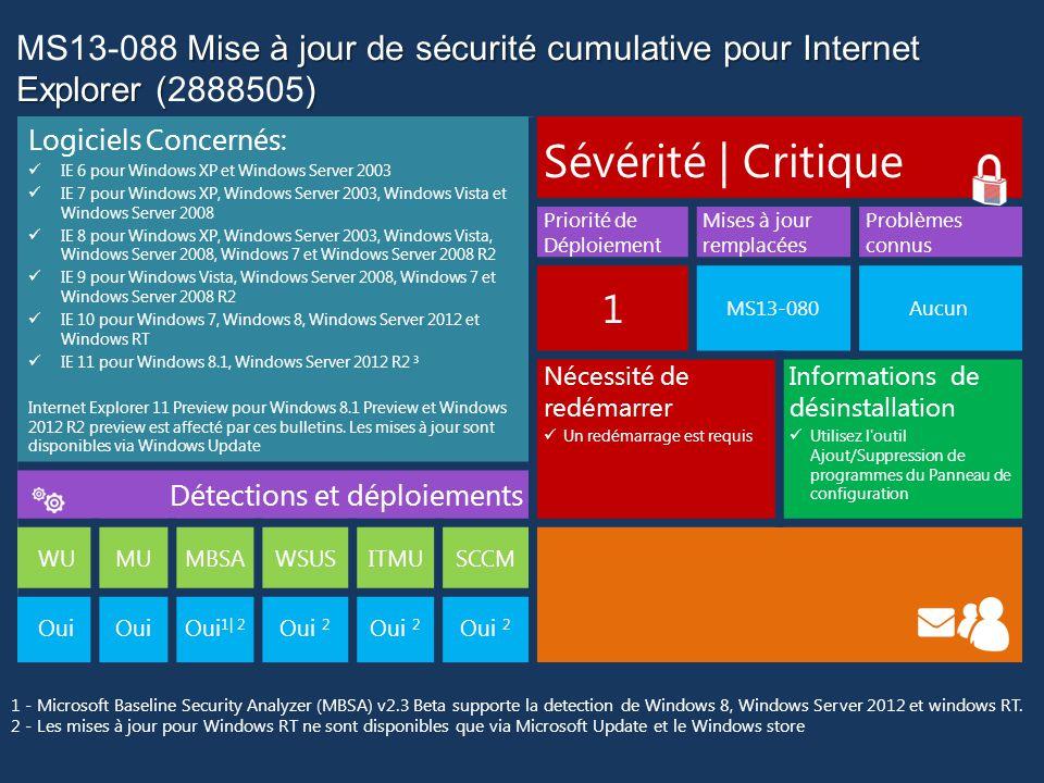 MS13-088 Mise à jour de sécurité cumulative pour Internet Explorer (2888505)