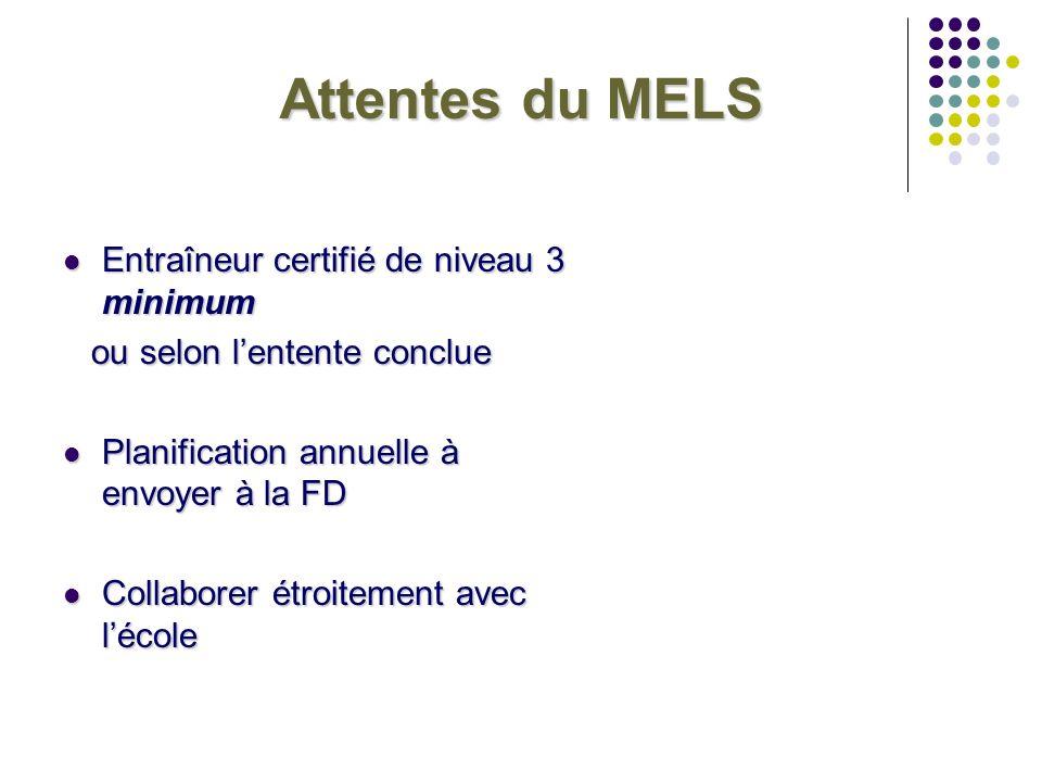 Attentes du MELS Entraîneur certifié de niveau 3 minimum