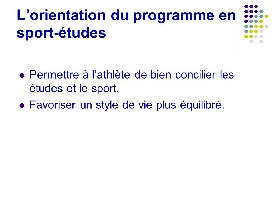L'orientation du programme en sport-études