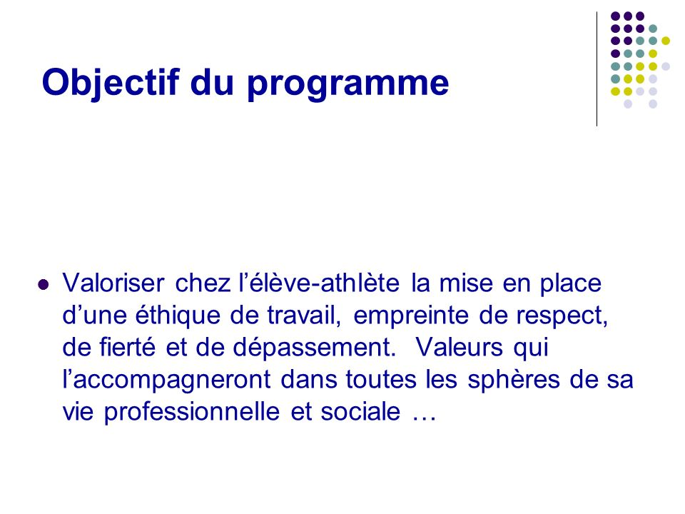 Objectif du programme