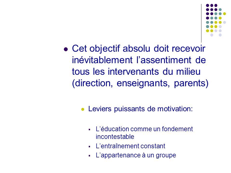 Cet objectif absolu doit recevoir inévitablement l'assentiment de tous les intervenants du milieu (direction, enseignants, parents)