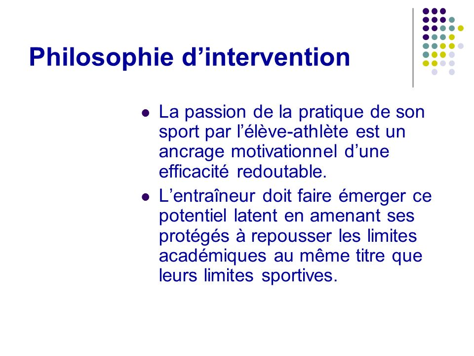 Philosophie d'intervention