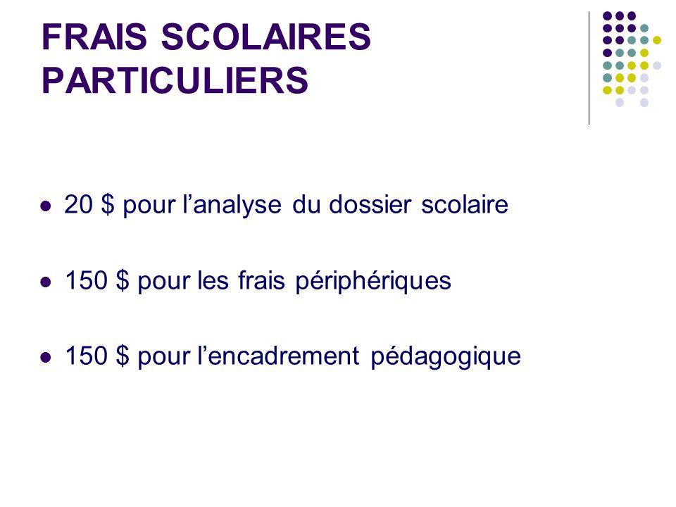 FRAIS SCOLAIRES PARTICULIERS