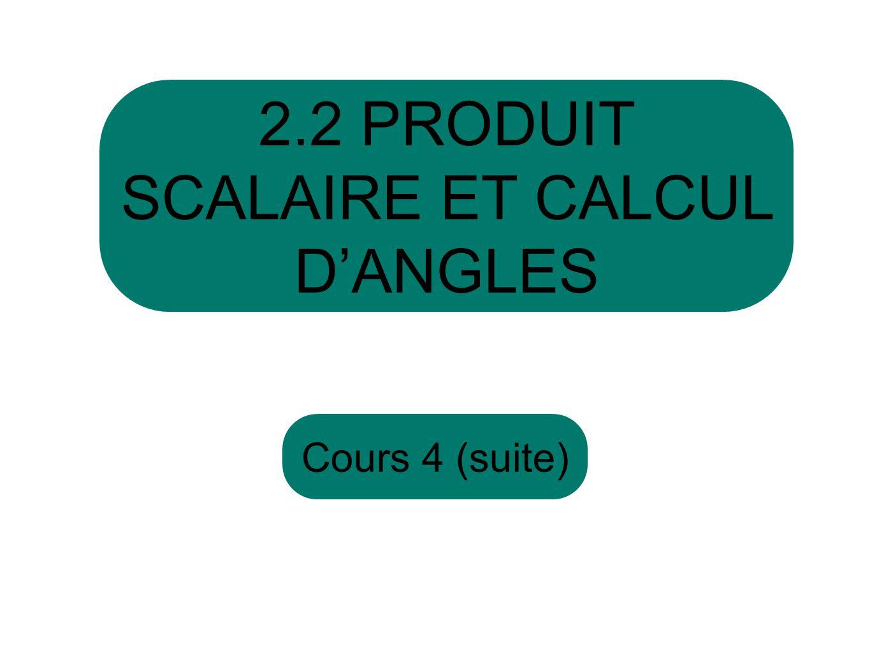 2.2 PRODUIT SCALAIRE ET CALCUL D'ANGLES