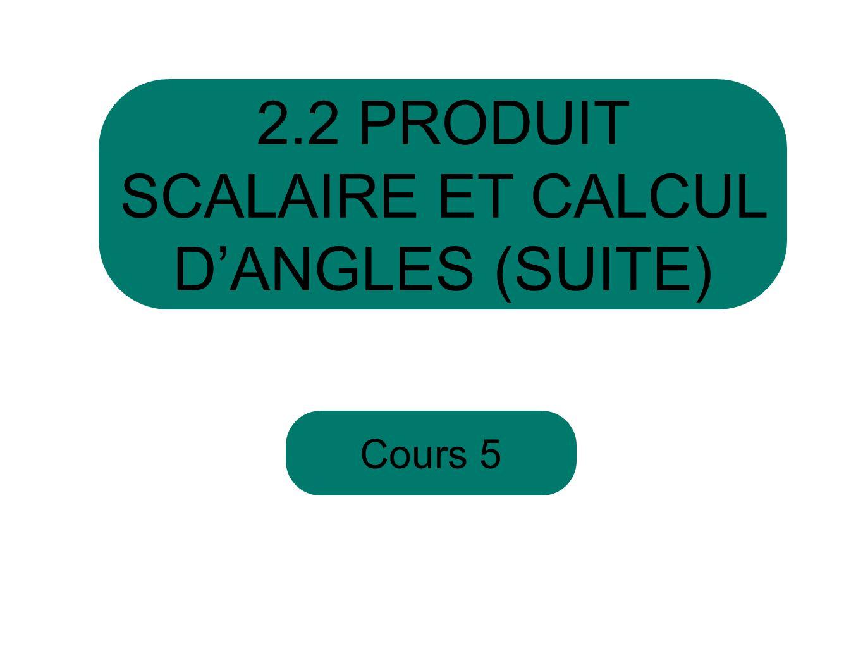 2.2 PRODUIT SCALAIRE ET CALCUL D'ANGLES (SUITE)