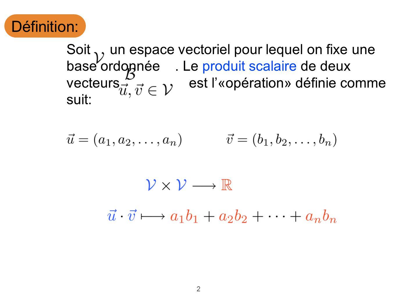 Définition: Soit un espace vectoriel pour lequel on fixe une base ordonnée . Le produit scalaire de deux.