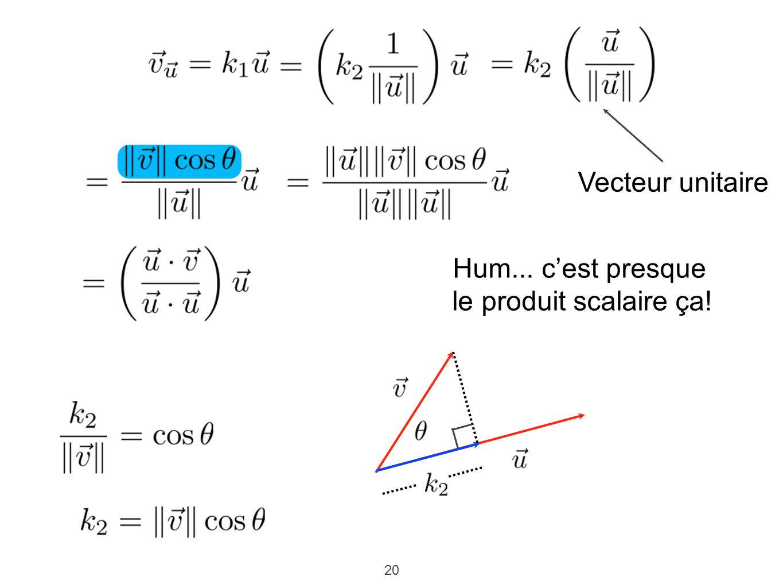 Vecteur unitaire Hum... c'est presque le produit scalaire ça!