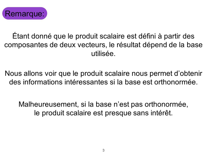 Remarque: Étant donné que le produit scalaire est défini à partir des composantes de deux vecteurs, le résultat dépend de la base utilisée.