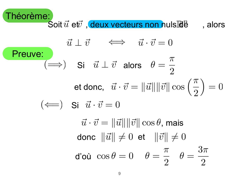 Théorème: Preuve: Soit et , deux vecteurs non nuls de , alors alors Si