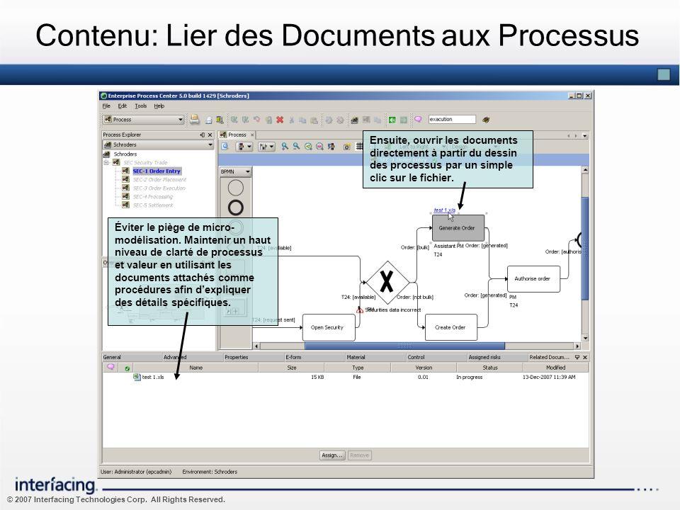Contenu: Lier des Documents aux Processus