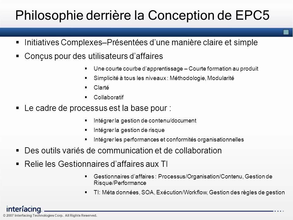 Philosophie derrière la Conception de EPC5