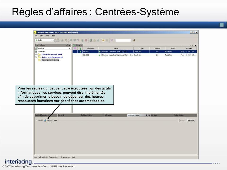Règles d'affaires : Centrées-Système