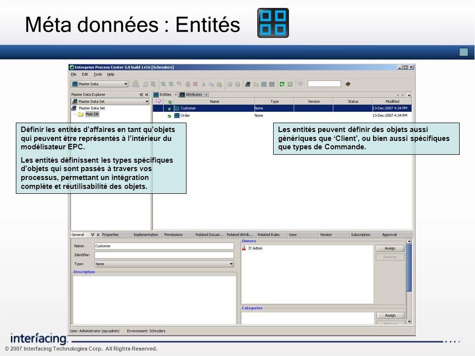 Méta données : Entités Définir les entités d'affaires en tant qu'objets qui peuvent être représentés à l'intérieur du modélisateur EPC.
