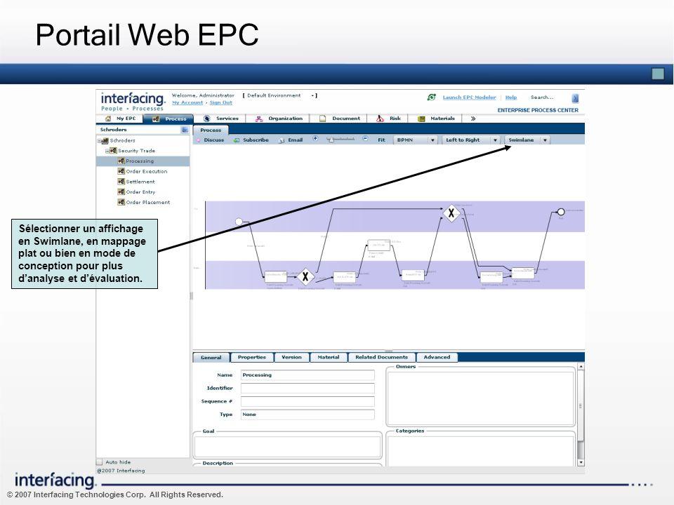 Portail Web EPCSélectionner un affichage en Swimlane, en mappage plat ou bien en mode de conception pour plus d'analyse et d'évaluation.