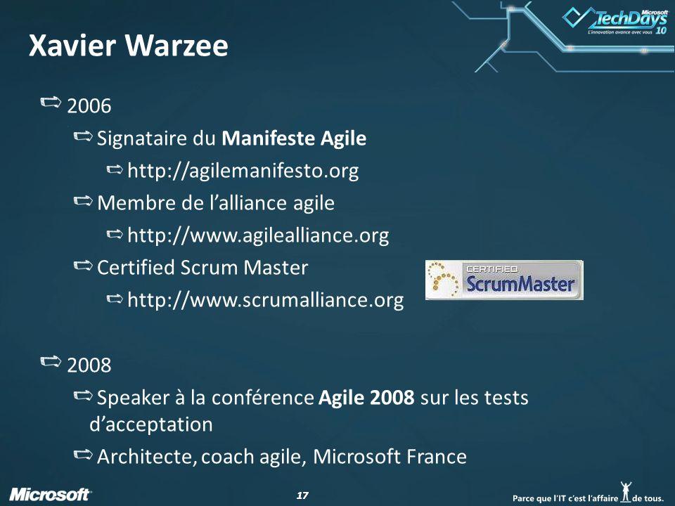 Xavier Warzee 2006 Signataire du Manifeste Agile