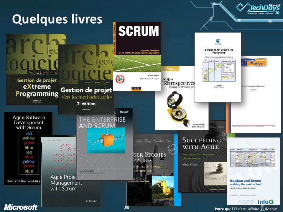 Quelques livres http://www.infoq.com/resource/news/2007/06/scrum-xp-book/en/resources/ScrumAndXpFromTheTrenches_French.pdf.