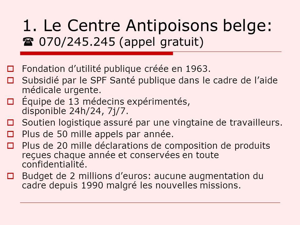 1. Le Centre Antipoisons belge:  070/245.245 (appel gratuit)