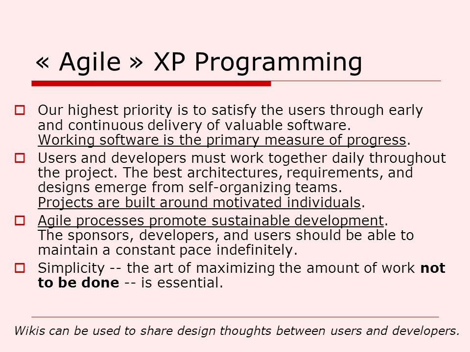 « Agile » XP Programming