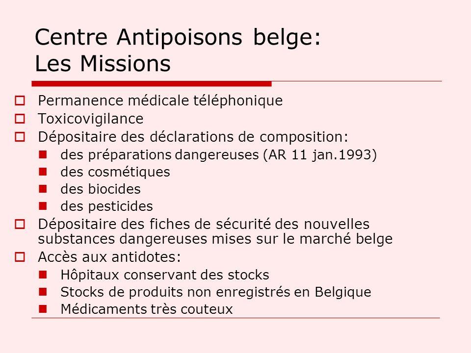 Centre Antipoisons belge: Les Missions