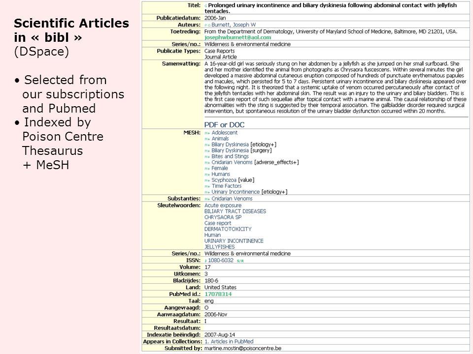 Scientific Articles in « bibl » (DSpace)