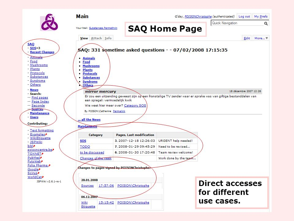 SAQ Home Page Direct accesses for different use cases.