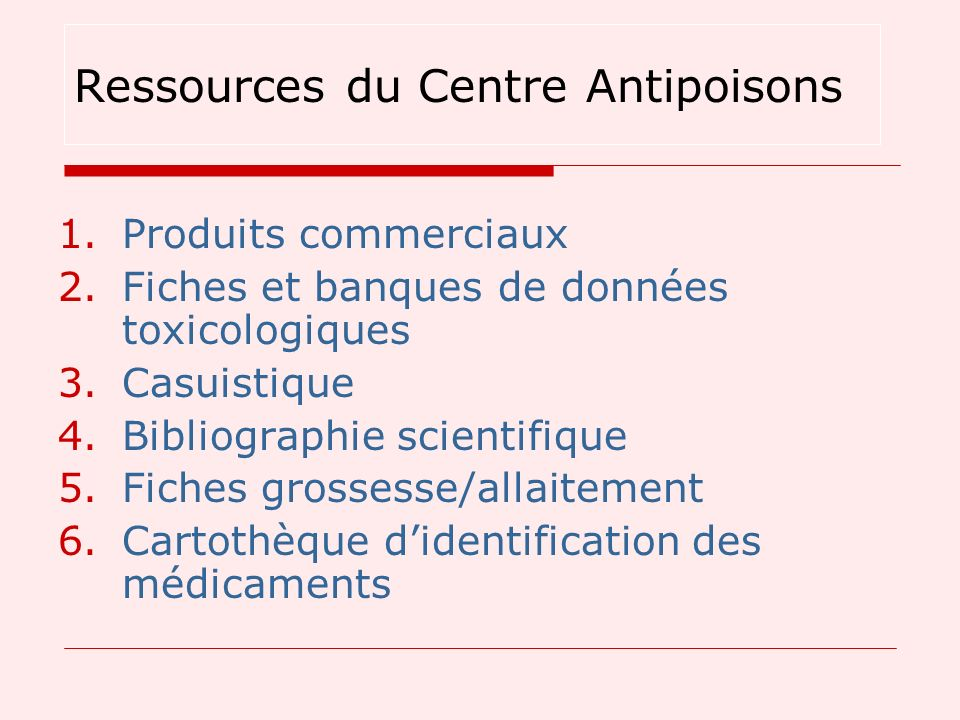 Ressources du Centre Antipoisons