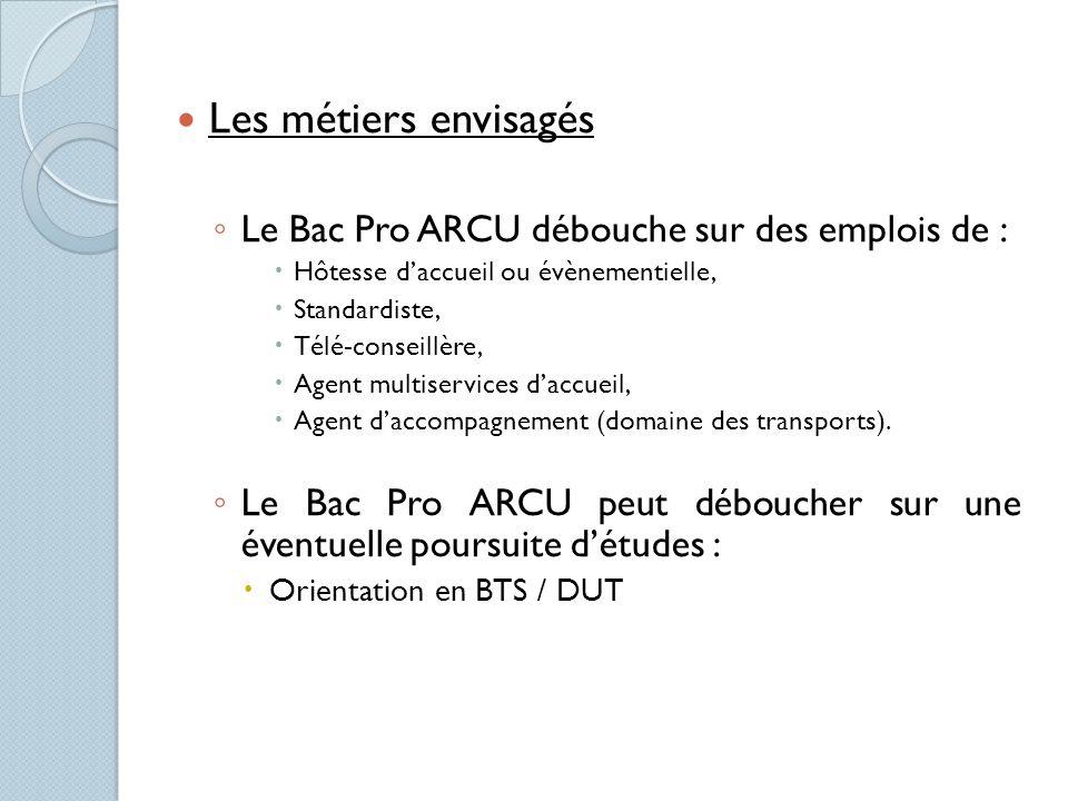 Les métiers envisagés Le Bac Pro ARCU débouche sur des emplois de :