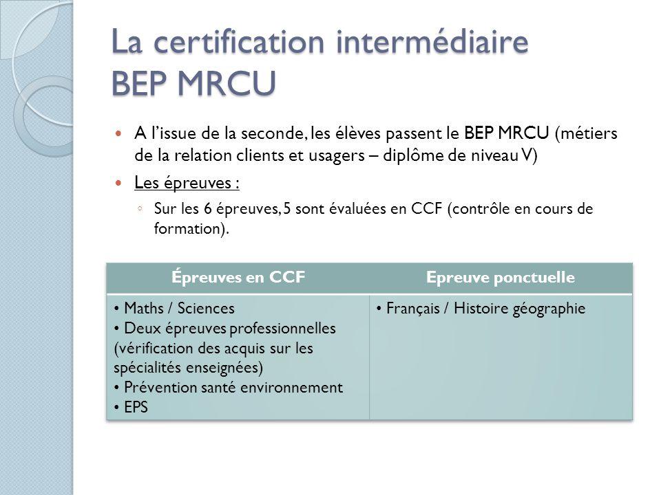 La certification intermédiaire BEP MRCU