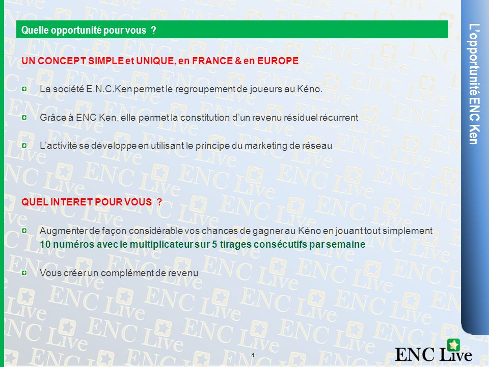 L'opportunité ENC Ken Quelle opportunité pour vous