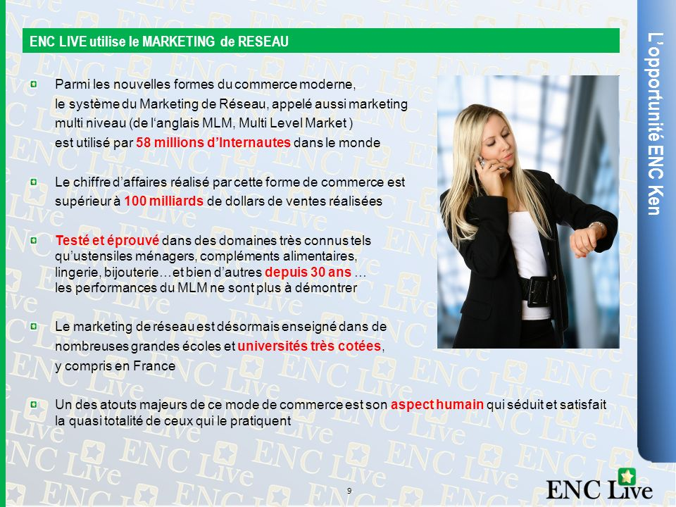 L'opportunité ENC Ken ENC LIVE utilise le MARKETING de RESEAU