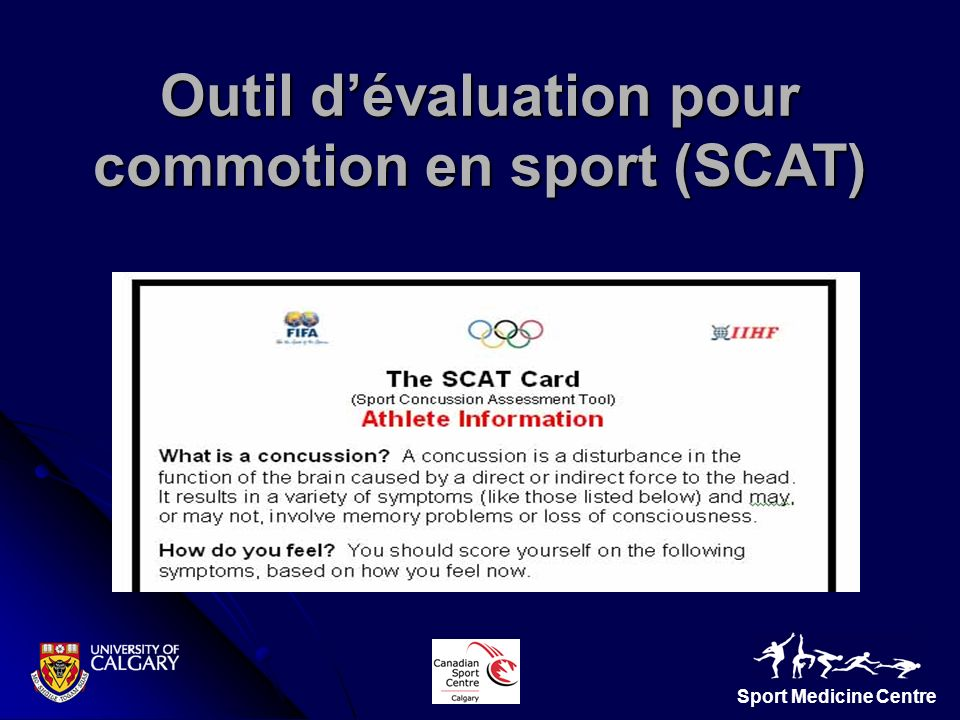 Outil d'évaluation pour commotion en sport (SCAT)