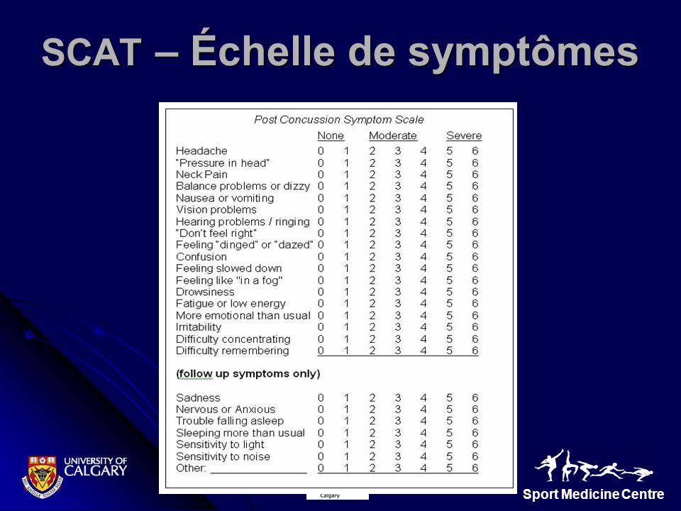 SCAT – Échelle de symptômes