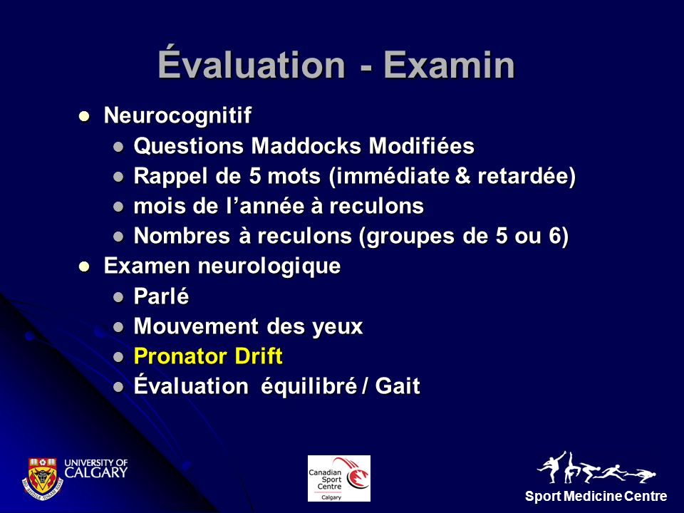 Évaluation - Examin Neurocognitif Questions Maddocks Modifiées