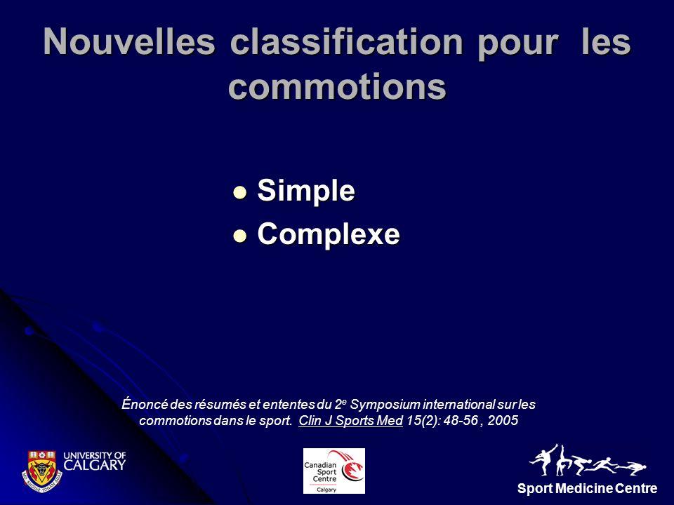 Nouvelles classification pour les commotions